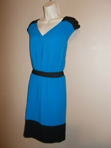 Guess Los Angeles Womens Size 12 Lined Basic Belted Dress Blue and Black