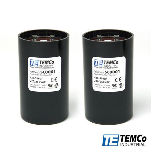 TEMCo 430-516 uf//MFD 220-250 VAC Volts Round Start Capacitor 50//60 Hz LOT of 25
