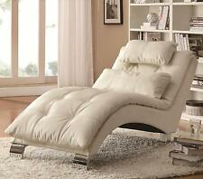 Coaster Furniture 550078 Accent Chaise White Faux Leather Upholstery