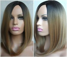 "Beautiful brown honey blonde Ombre dip dye dark roots straight long 16"" Bob wig"