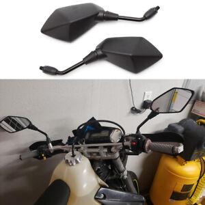 Black Motorcycle Rearview Side Mirrors M10 For Honda Yamaha Kawasaki Universal