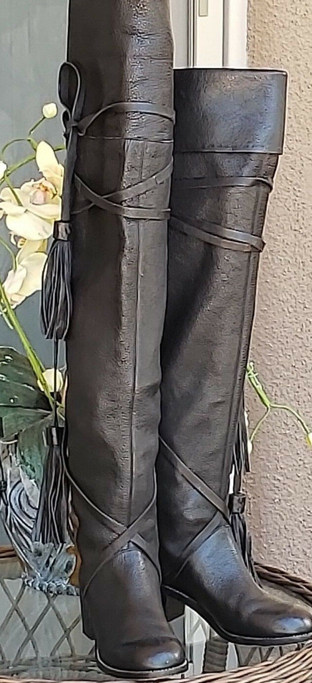 SEE BY CHLOE 6.5 Black Black Black Over Knee Leather Lace Wrap Around Tassle Thigh High Boot 64c11b