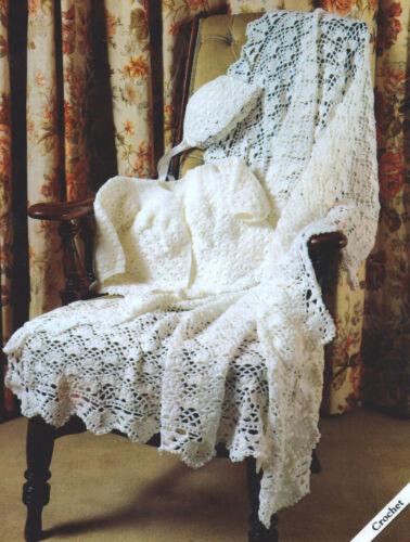 "Baby Matinee Jacket,Bonnet /& Shawl 12/"" 20/"" Premature 4 Ply Crochet Pattern"