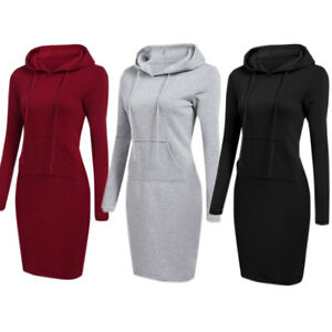 Women-Hooded-Hoodie-Long-Sleeve-Sweater-Pocket-Casual-Bodycon-Jumper-Dress-Tops