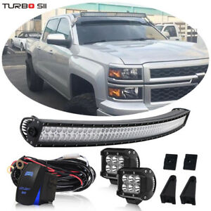 """52/"""" Curved Offroad LED Light Bar kit 89-98 Chevy C//K 1500 2500 3500 Upper Roof"""