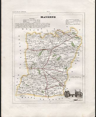 100% Quality 1841 Antique Map Monin France H/col - Departments, Mayenne Laval Mayenne Careful Calculation And Strict Budgeting