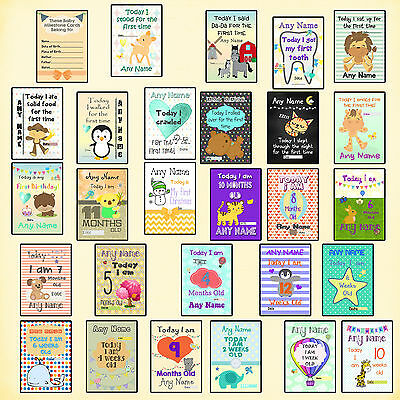 Baby Milestone Cards Photo Prop Sign Poster Personalised Choice of Sex