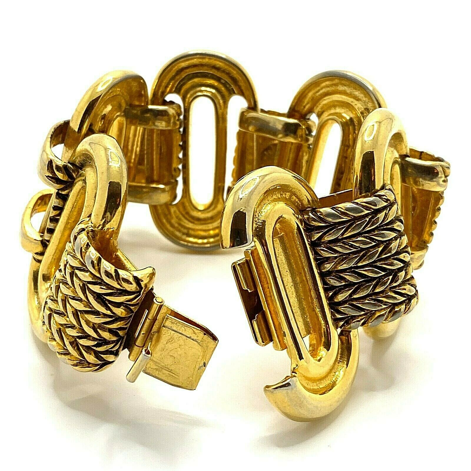Vintage Claire Deve Paris Bracelet Signed Chunky … - image 3