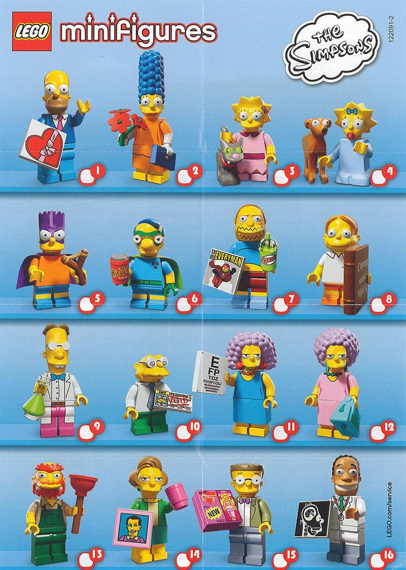LEGO minifigures le Simpsons Series 2 full complete set 16 nouveau scellé 71009 cmf