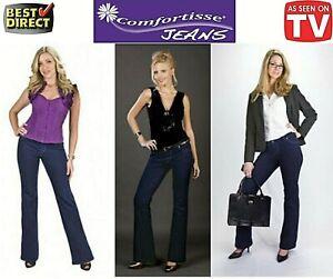 Ladies-Comfortisse-Boot-Cut-Jeans-Soft-Stretchy-Leggings-Skinny-Jeggings-Pant-UK