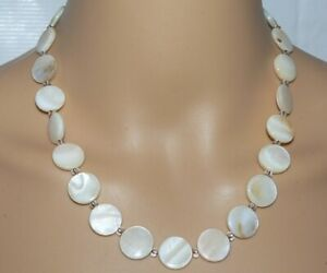 Halskette-Kette-Collier-Muschel-Perlmutt-Scheibe-15mm-natur-weiss-creme-405n