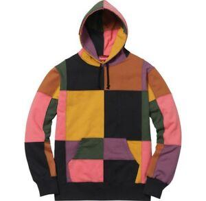 a86aceecf622 SUPREME Patchwork Hooded Sweatshirt Black Navy M box logo camp cap F ...
