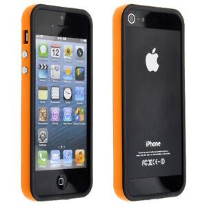 iPhone-5-5S-SE-Bumper-Huelle-Case-Cover-Handy-Schutz-TPU-Silikon-Orange-fuer-Apple