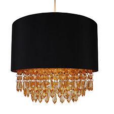 Nero Moderno Luce da Soffitto Ciondolo Ombra con oro interno & Ambra Goccia Perline