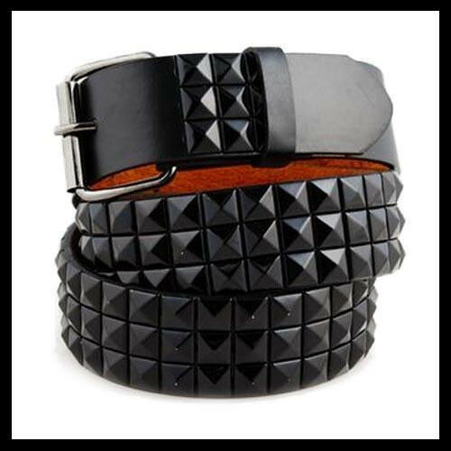 New Unisex Mens Women 3Row Black Pyramid Studded Leather Belt Punk Rock Goth Emo