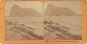 Gibraltar-Vista-Generale-UK-Foto-Stereo-J-Andrieu-Vintage-Albumina-Ca-1870