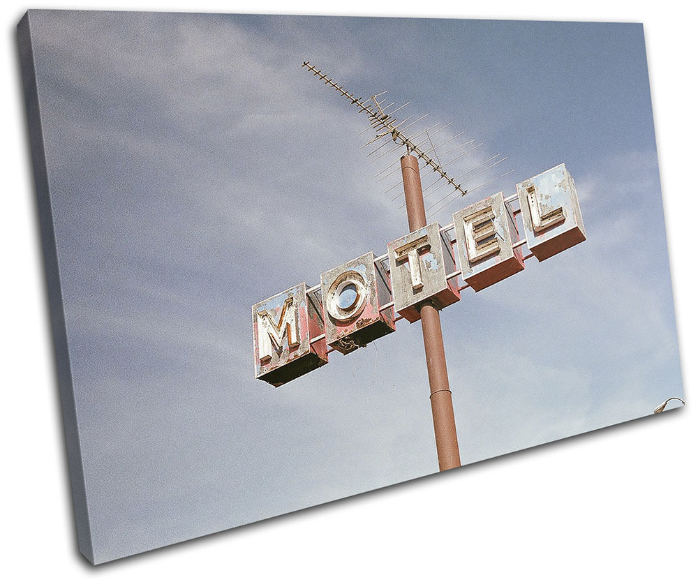 Motel Sign America Vintage SINGLE LONA pa rojo rojo pa  arte Foto impresion ea2ab4