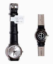 Claude Bernard for Ann Taylor LOFT - Women's Black Leather Stainless Steel Watch