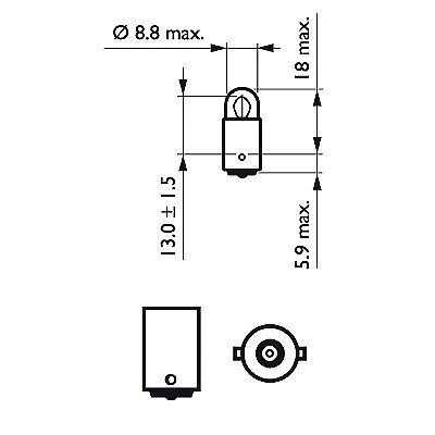 30/% LUZ T3W COCHE MOTO 1 BOMBILLA PHILIPS VISION T2W BA9s LAMPARA 12V 2W