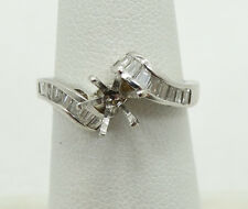 Very Nice 14K White Gold Baguette Diamond Setting Ring Sz5.5 E1119A