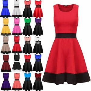 Ladies-Swing-Dress-Ladies-Sleeveless-Contrast-Panel-Franki-Flared-Skater-Dress