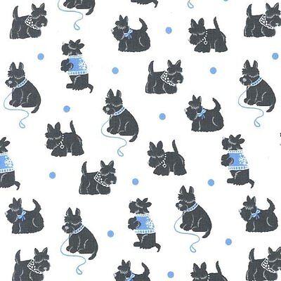 Michael Miller Bespoke Scotties Blue Dog 100% Cotton Fabric