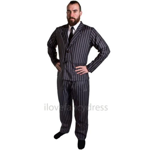 DELUXE 10 PIECE GANGSTER COSTUME MENS 1920/'S FANCY DRESS ADULT MAFIA AL CAPONE