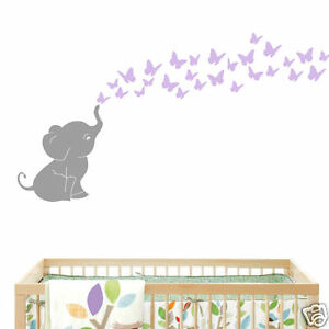 Butterflies With Elephant Baby Wall Decal Vinyl Wall Nursery Room