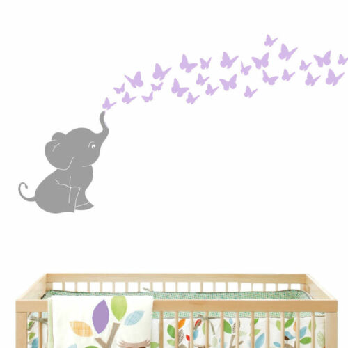 Butterflies with Elephant Baby Wall Decal Vinyl Wall Nursery Room Shower Gift US