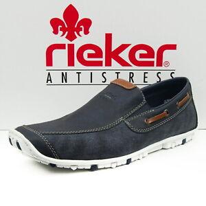 Details zu Rieker Herrenschuhe Slipper Sneaker Halbschuhe Gr. 45 Blau 08971 15