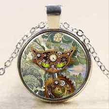 Steampunk cat gear punk Glass Cabochon Tibet silver pendant chain necklace
