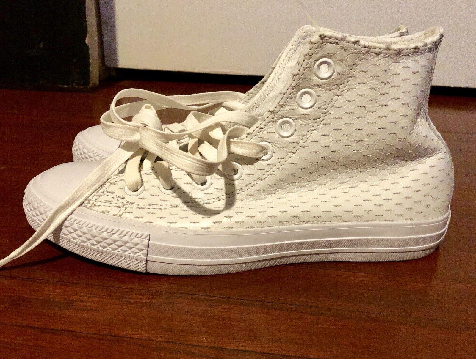 New Mens 6.5 Women's 8.5 Converse CTAS Hi White gold Leather shoes  75 153115C