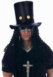 Costume Rocker Anni/'80 Guns Roses Set Slash Cappello Capelli T Shirt Chitarra Collana