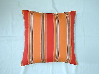 Blue Green Striped Square Throw Pillows Sunbrella Bravada Limelite 5602 Set//2