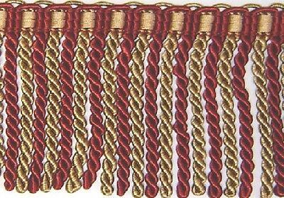 "5"" Bullion fringe Cranberry red and Gold Matched Tassel Fringe, Gimp, Brush"