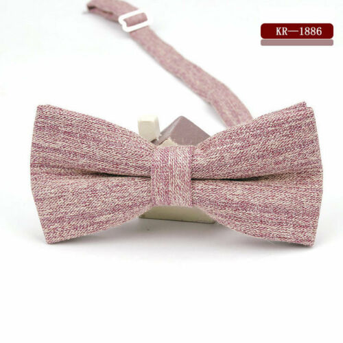 Wedding Party Mens Bow Tie Adjustable Cotton Bowtie Solid Striped Butterfly Gift