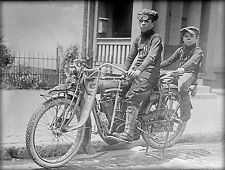 "1915- INDIAN Motorcycle, Kids, antique photo, vintage wall decor, 14""x10"""