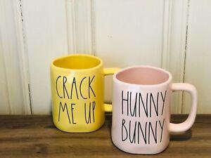 Rae-Dunn-Easter-By-Magenta-Yellow-CRACK-ME-UP-Pink-HUNNY-BUNNY-Mug-Set-of-2