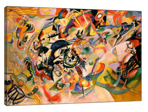WASSILY KANDINSKY COMPOSITION VII OIL PAINT RE PRINT ON FRAMED CANVAS WALL ART H