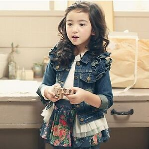 Sweet Girls Kids Denim Jacket Ruffle Lace Jean Coats Tops Cowboy