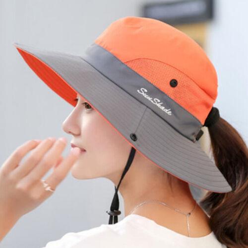 Womens Wide Brim Hat Sun Visor Cap Beach Summer Ponytail Anti-UV Holiday Caps
