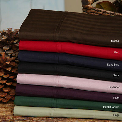Extra Deep Pocket Bed Sheet Set 4 PCs Burgundy Stripe Cotton 1000-TC All Size