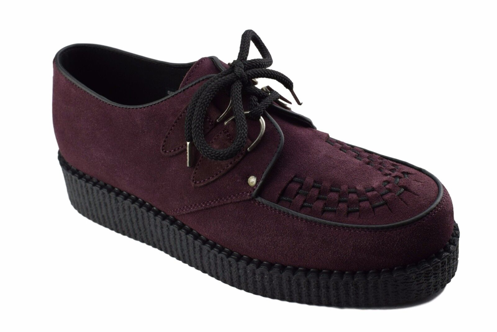 Steel Ground Schuhes Burgundy ROT Suede Creepers Low Sole D Ring Casual Sc400Z274