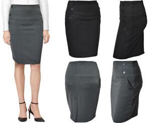 Mujer Liso Lapiz Falda Mujer Midi Trabajo Oficina Ropa Ebay