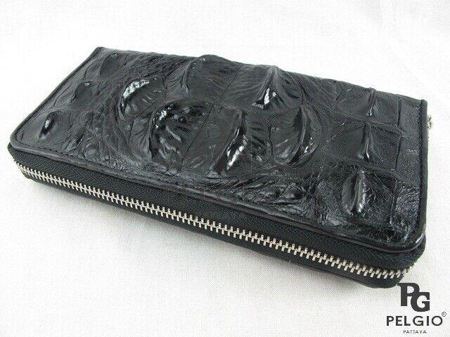 PELGIO Genuine Crocodile Hornback Skin Leather Zip Clutch Wallet Purse Black New