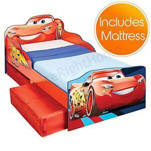 Disney-Cars-Lightning-Mcqueen-Bebe-Stockage-Lit-avec-Matelas-en-Mousse