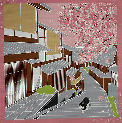 Furoshiki Wrapping Cloth Japanese Cat Fabric 'Tama Under the Sakura' Cotton 50cm