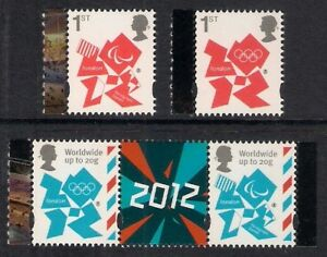 GB-2012-sg3337-40-Olympic-Paralympic-booklet-stamps-ordinary-gum-set-MNH