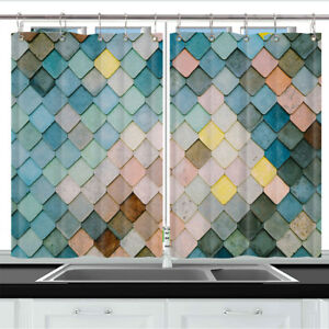 Creative Colorful Mermaid Scales Kitchen Curtain Window Drapes 2 Panels 55x39 Ebay