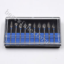 10pc Tungsten Acrylic Steel Dental Burs Carbide Burr Mix-type Drill Marble Grind